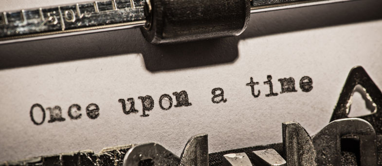 once upon a time type on typewriter black and white