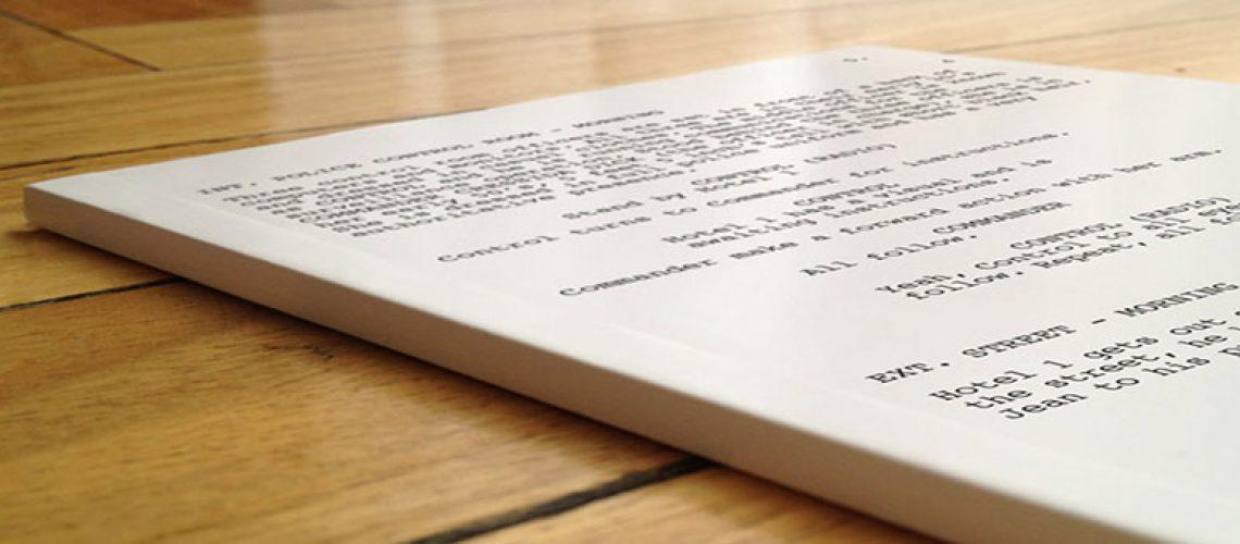 typed script sitting on desk